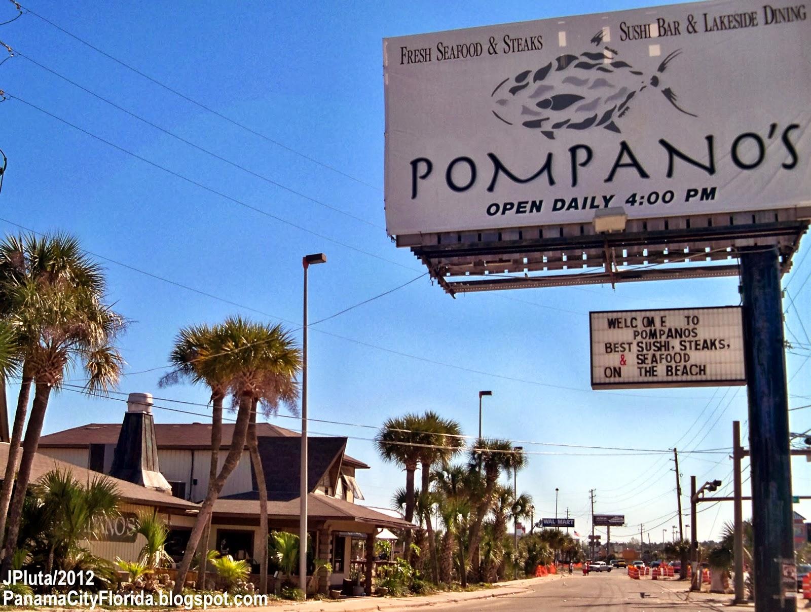 Pompano S Restaurant Panama City Beach Florida Front Road Seafood Steaks Sushi Dining Fl Bar