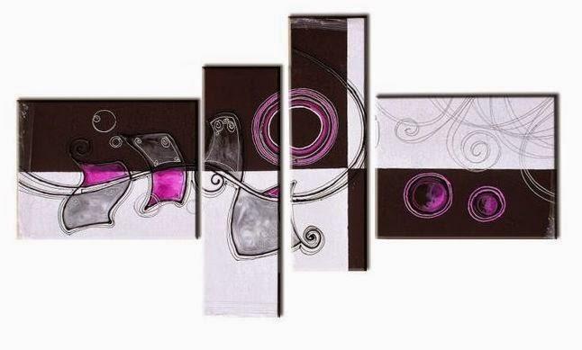 Cuadros tripticos modernos en morado fuxia lila car for Cuadros tripticos dormitorios modernos