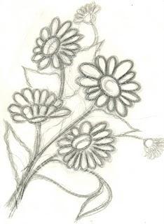 desenho de margaridas para pintura tecido