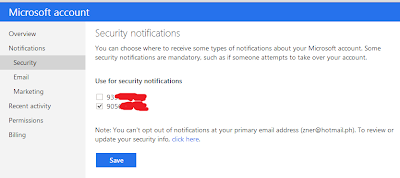 Select Security notification for Microsoft Account