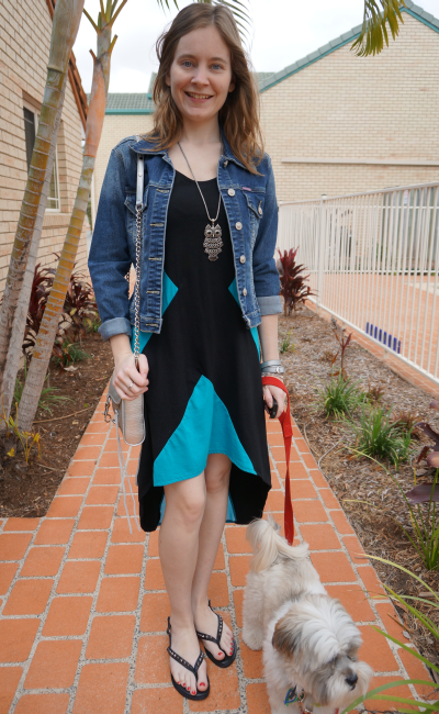 away from blue colour block dipped hem dress denim jacket