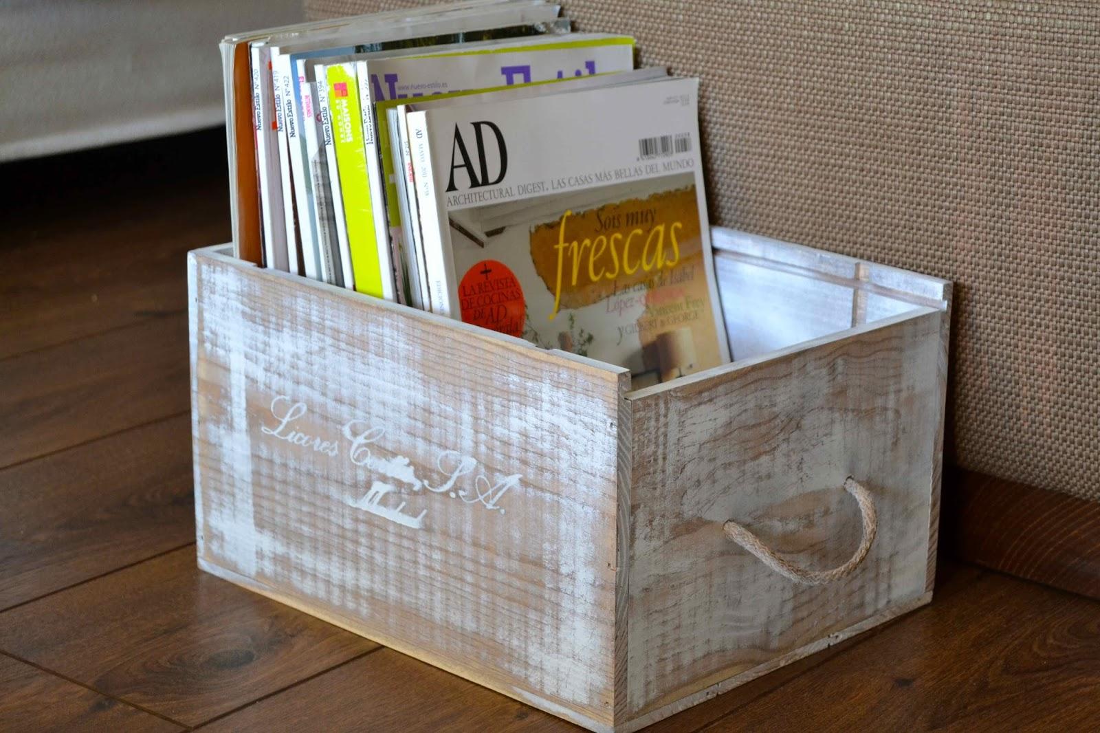 Oro y Menta Revistero DIY reciclando caja de vino