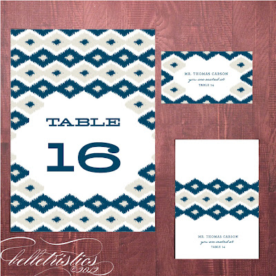 bold modern ikat printable diy reception stationery