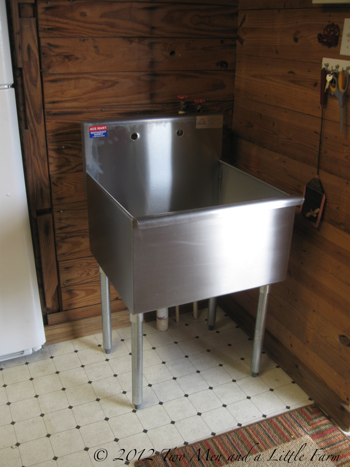 two men and a little farm utility sink for mudroom