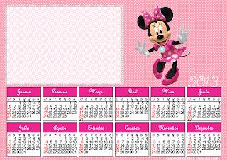 calendário minnie kit festa minnie rosa para imprimir grátis