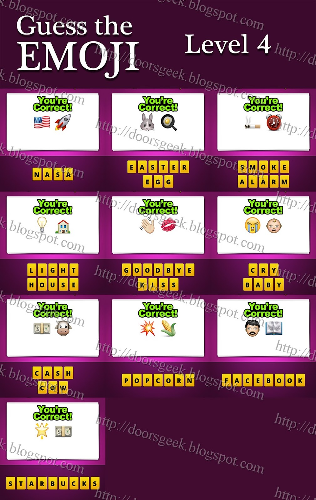 Guess The Emoji Level 4 Answers And Cheats Doors Geek