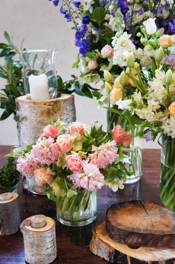 Sugar bee flowers 2014 wedding ceremony flowers in pastel pink white apricot blue cream tulip roses hyacinth hellebore paperwhite delphinium stock etc mightylinksfo