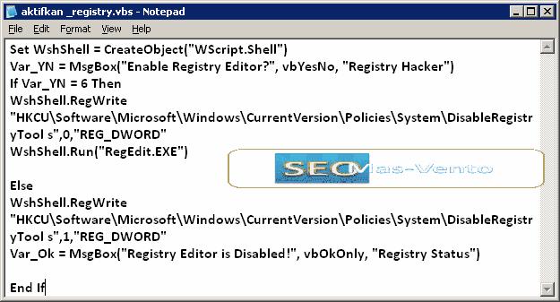 Cara Mengaktifkan Registry Editor