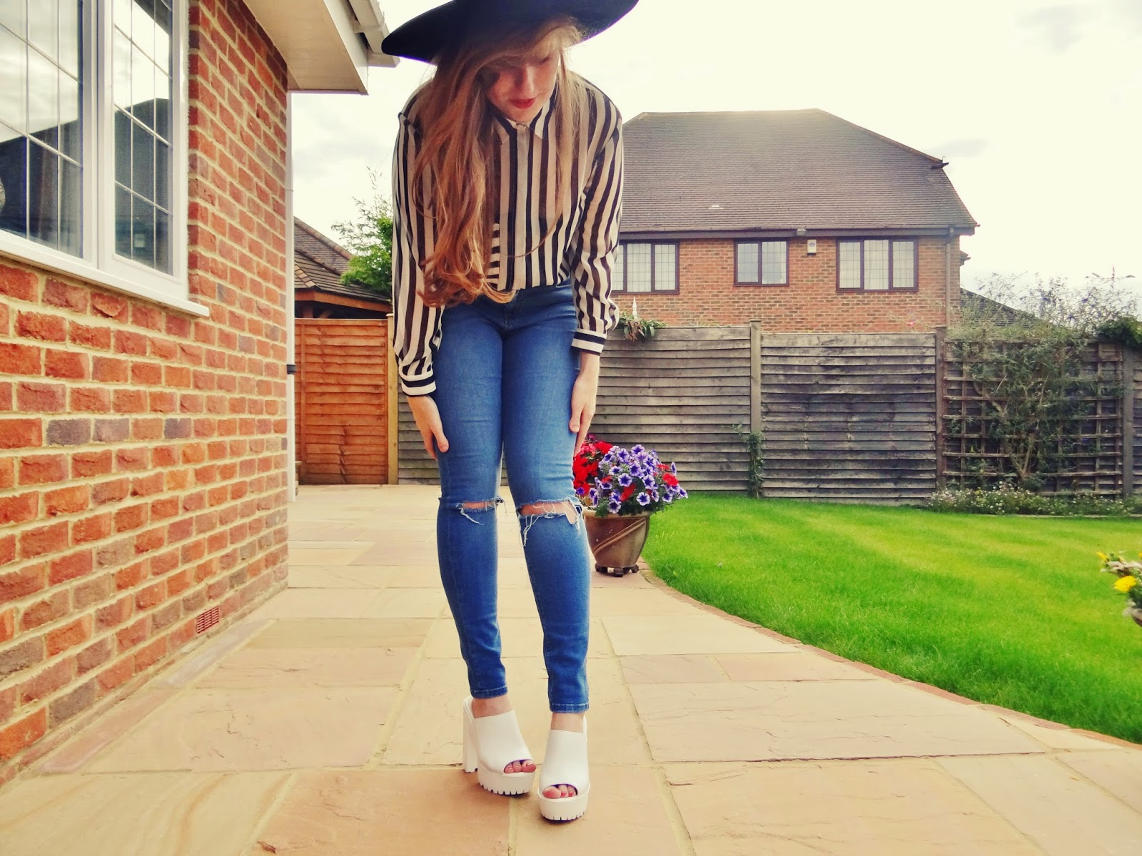 black and white stripe blouse missi clothing