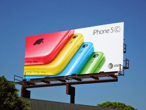 iPhone 5c colour fan on white background billboard