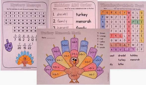 Thanksgivukkah activity sheets