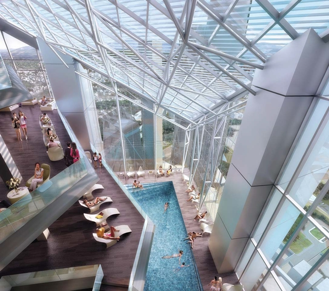 Rendering of the pool and terraces with people on the roof of Dancing Dragons by Adrian Smith + Gordon Gill Architecture
