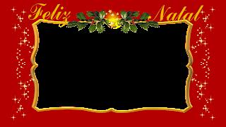 Moldura red e gold com azevinho e estrelas Feliz Natal png