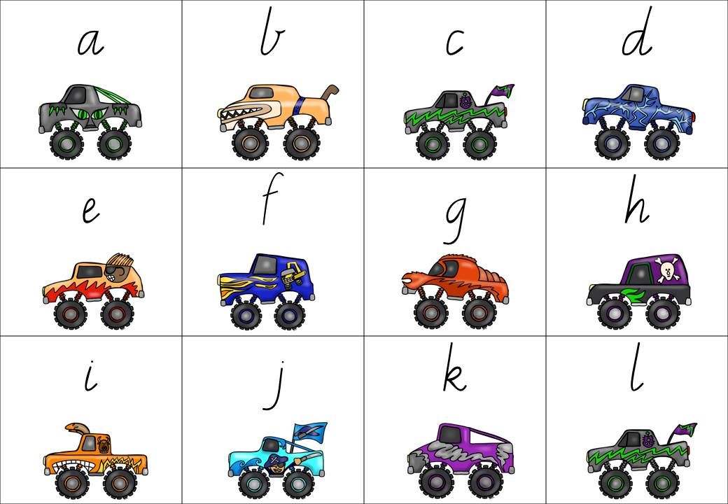 http://www.teacherspayteachers.com/Product/Monster-Truck-Matching-with-lower-case-and-capital-letters-1348476