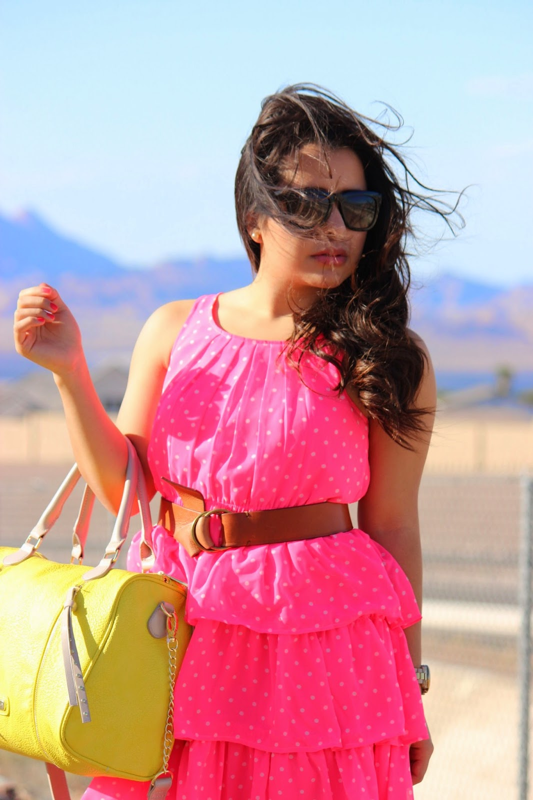 Neon ruffled dress, neon polka dot dress, neon satchel, steve madden neon handbag
