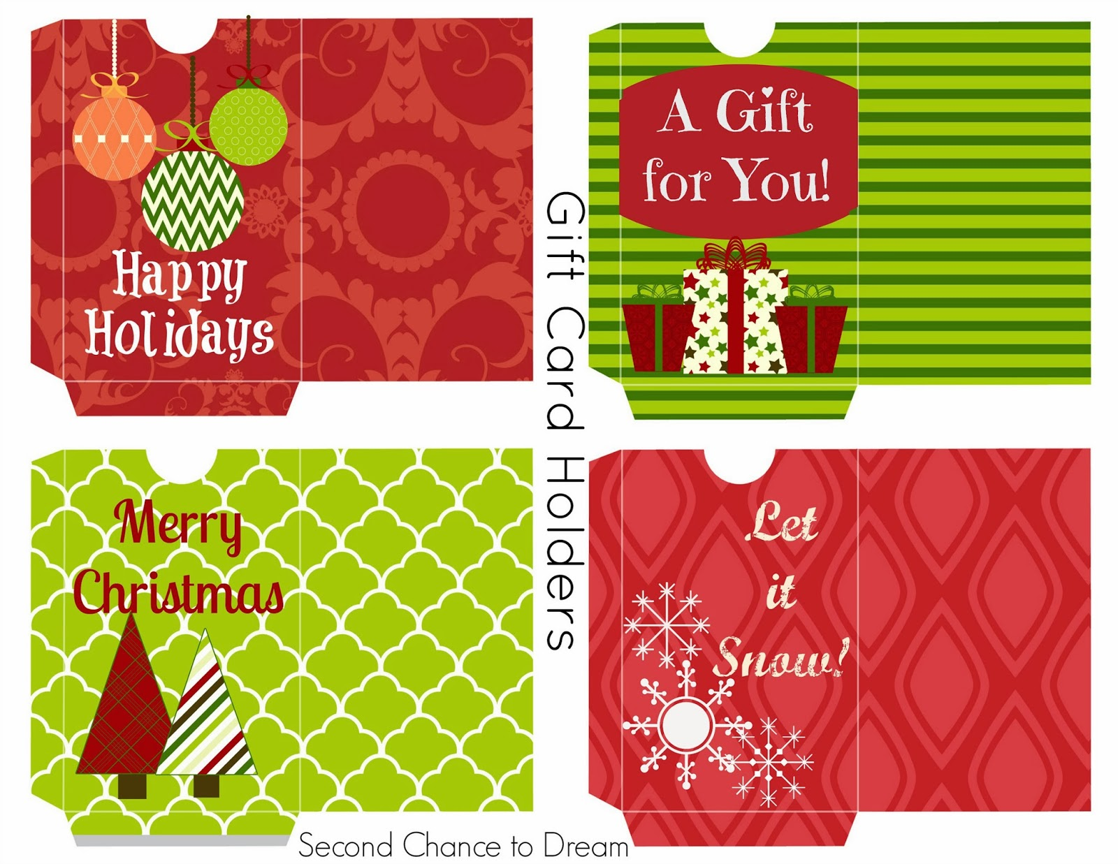 Second Chance To Dream  Free Printable Gift Tags  Gift Card Holders