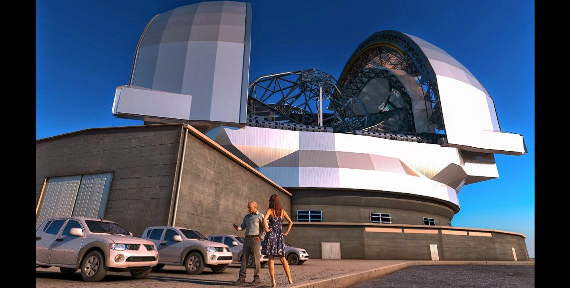 "This artist's impression shows the European Extremely Large Telescope (E-ELT) in its enclosure. The E-ELT will be a 39-metre aperture optical and infrared telescope sited on Cerro Armazones in the Chilean Atacama Desert, 20 kilometres from ESO's Very Large Telescope on Cerro Paranal. It will be the world's largest ""eye on the sky"". Credit: ESO/L. Calçada"