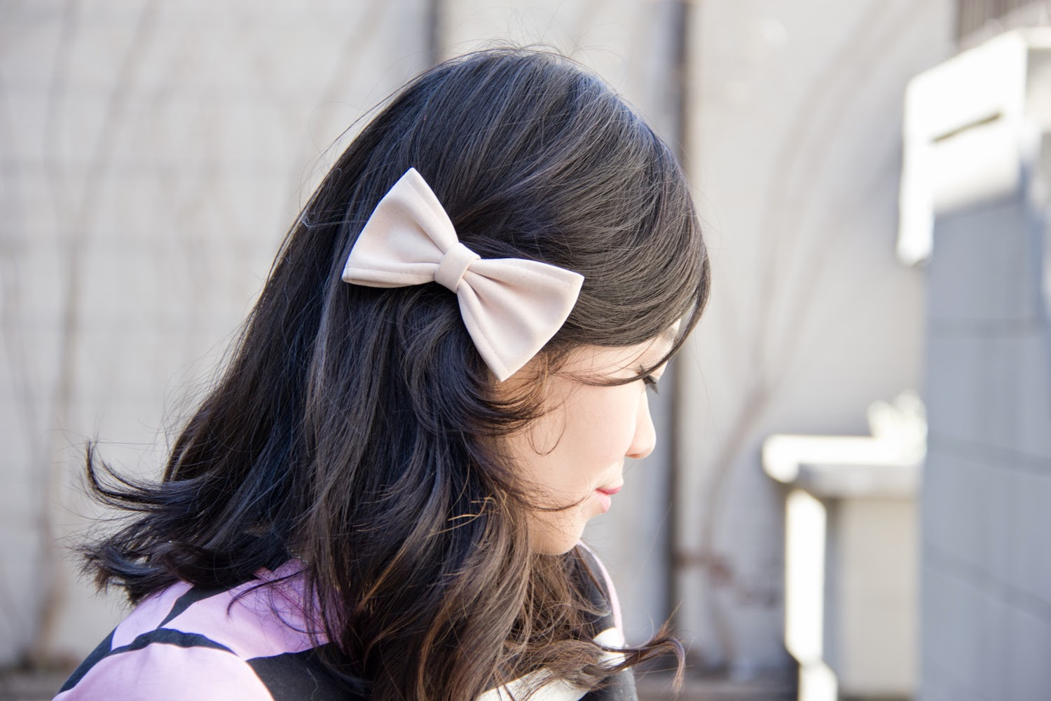 pretty-hair-clip, bow-tie, pastel-pink, spring-accessory