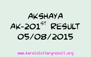 Akshaya AK 201 Lottery Result 5-8-2015