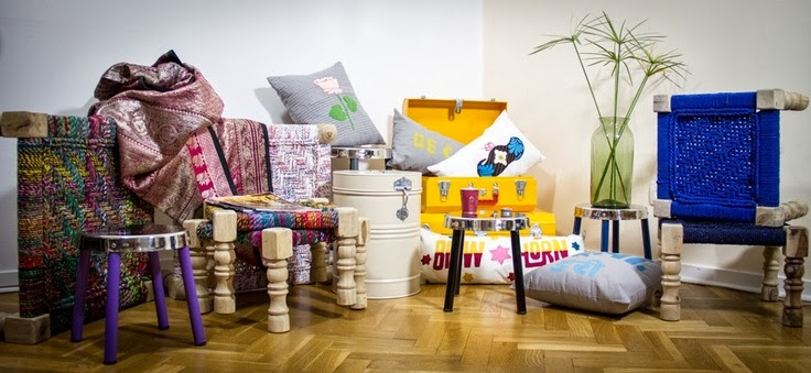 indian box, daybed, cushions, tin cans