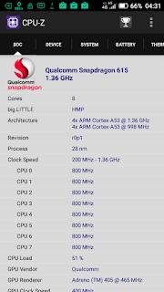 Hisense Pureshot - via aplikasi CPU-Z: koq Snapdragon 615 sih?
