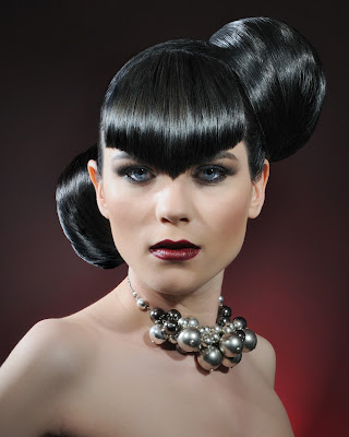 sleek metal red and black hair hairdresser