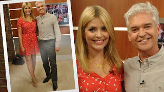 Button Up, Ditsy Print, Dress, Floral Print, Holly Willoughby, Red, River Island, Short Sleeve, Sleeve Detail, Tea Dress, This Morning, Tie Detail, V-Neck, Waist Detail
