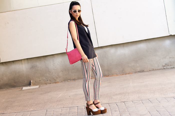 Navy Waistcoat, Striped Pants and Wooden Platform Sandals