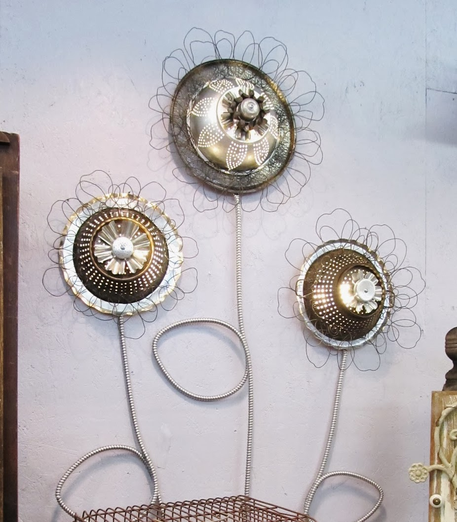 Wall metal collage art lights