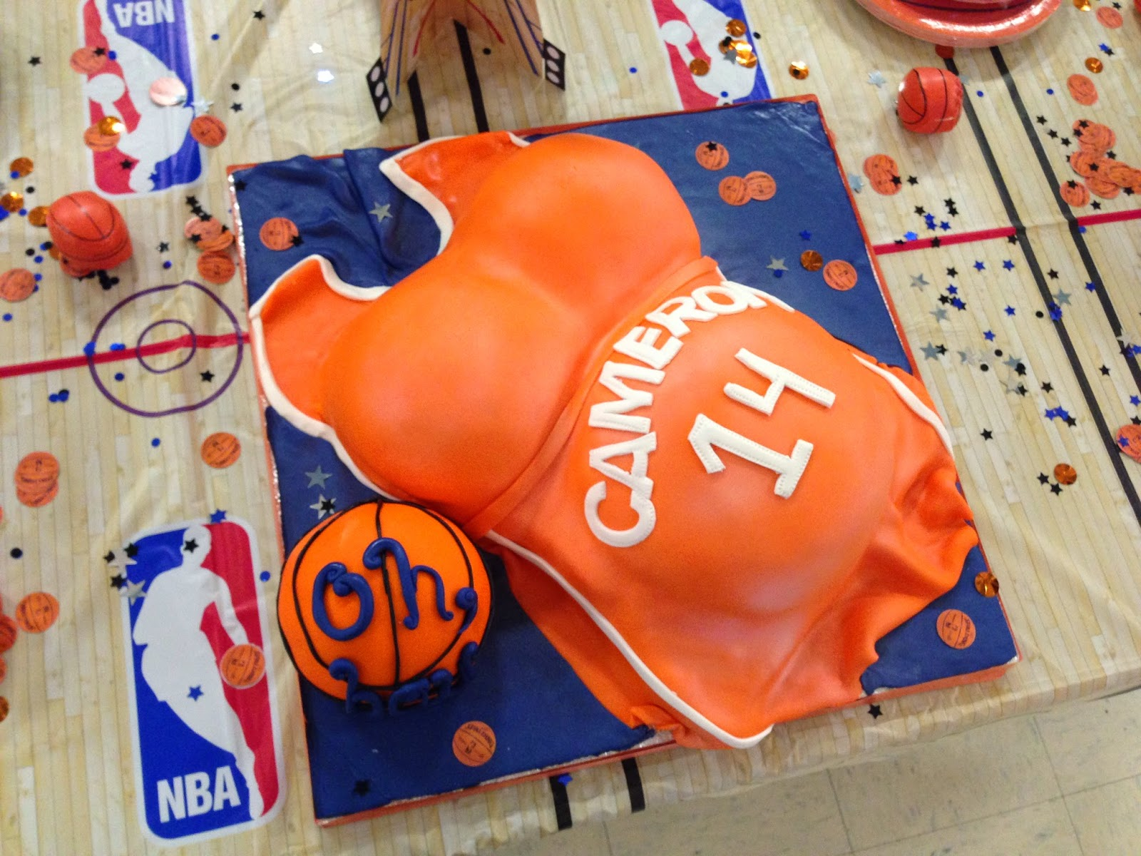 Baby Shower Cake Pregnant Belly Basketball Themed
