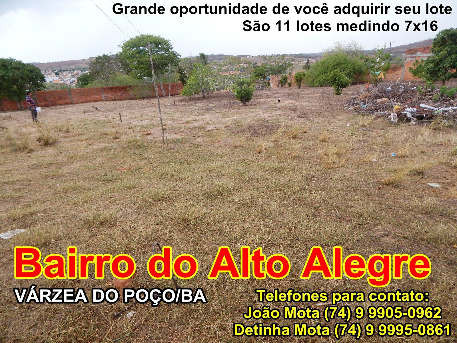 Grande oportunidade de você adquirir seu lote no Loteamento no Alto Alegre em Várzea do Poço