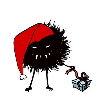 Evil Christmas hairy bug with a present