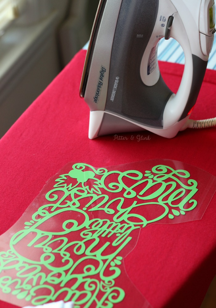 Iron a fun hand-lettered stocking graphic onto a plain tee to create a cute Christmas tee | www.pitterandglink.com