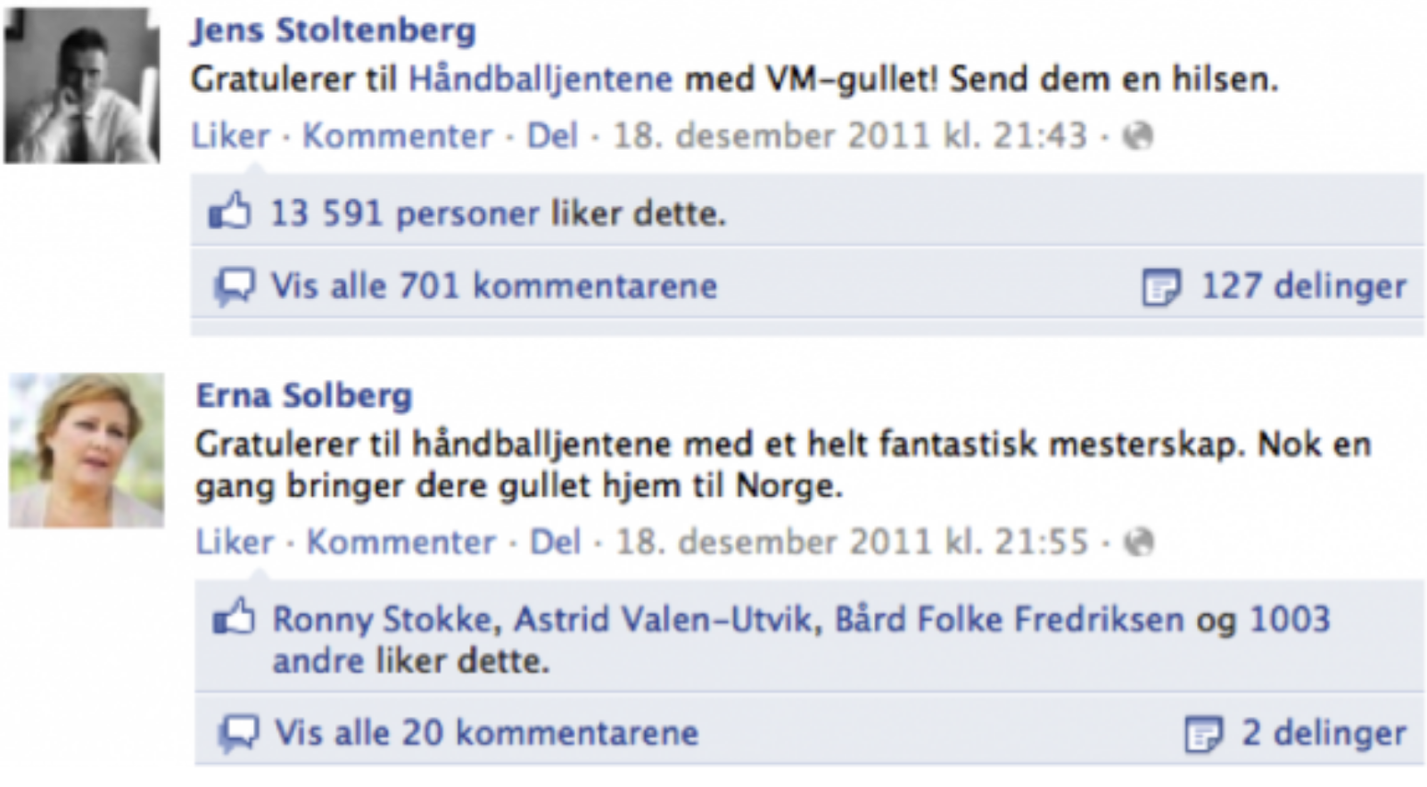 Erna Solberg og Jens Stoltenberg Facebook