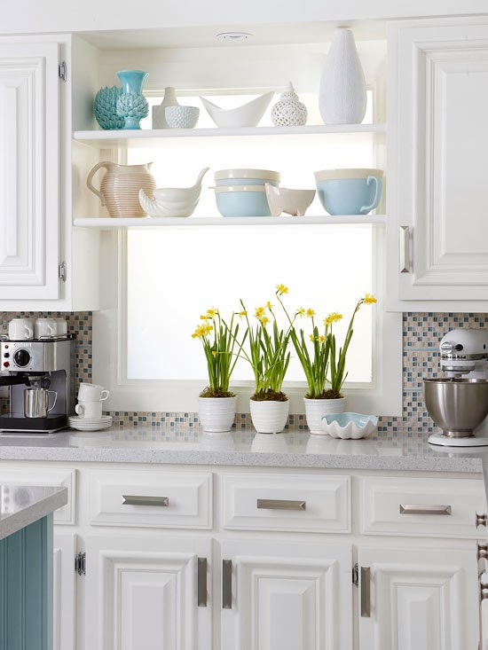 Display Collections : Make Use Of The Space Between Cabinets In Front Of A  Window By Adding Simple Shelves And Displaying A Collection.