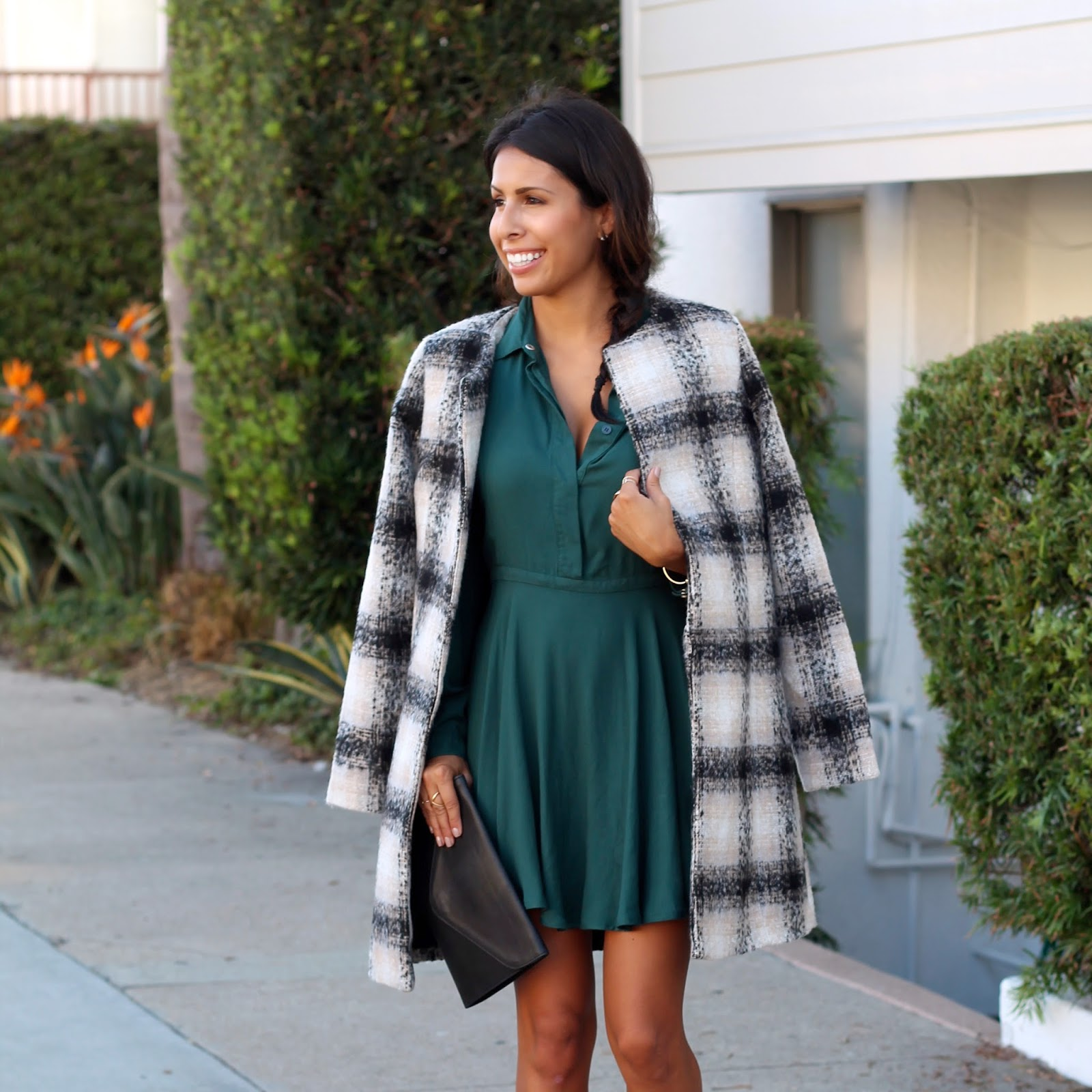 fall date night outfit, how to wear plaid coat, black booties, sole society, layering for fall