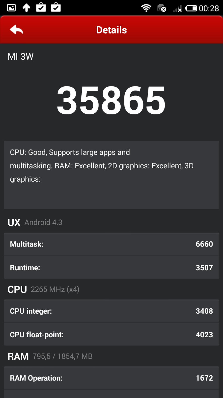 Antutu Xiaomi Mi3 35.865 puntos