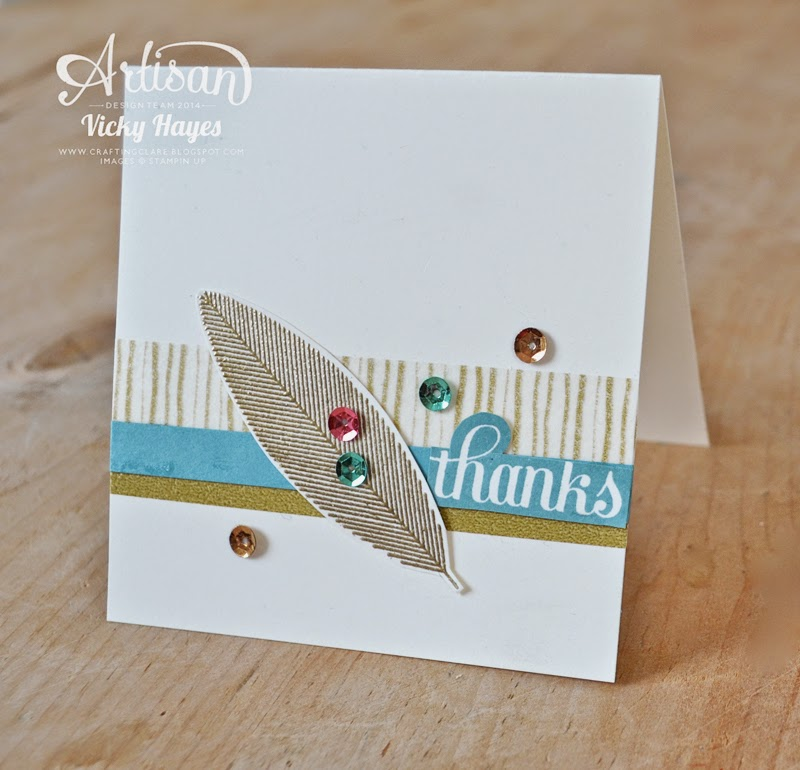 Gold embossed feather and sequins with A Happy Hooray by Stampin' Up