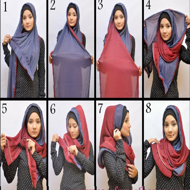 Tutorial dan gambar cara memakai jilbab hijab modern gaul model dua warna