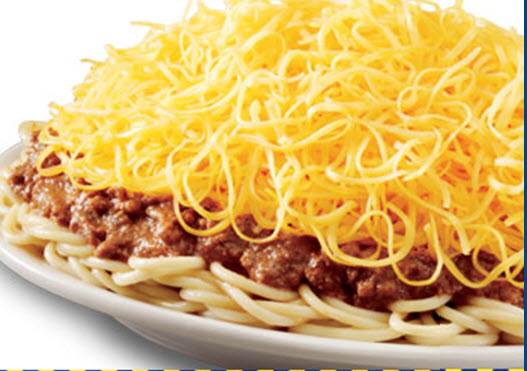 skyline chili is served as 6 separate components chili spaghetti