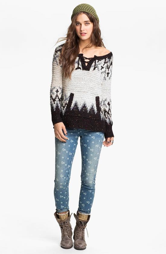 Free People 'Love Bug' Lace-Up Nordic Sweater