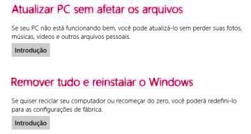 Novas opções de restauração do Windows 8