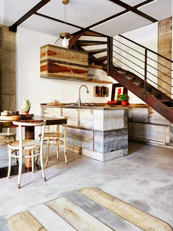 ma maison au naturel une belle cuisine italienne avec des mat riaux recycl s. Black Bedroom Furniture Sets. Home Design Ideas
