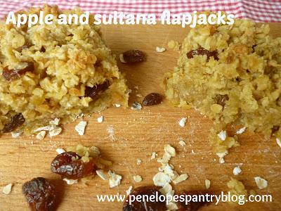 Chewy apple and sultana flapjacks, dairy free, recipe