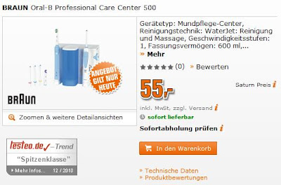 Mundpflegecenter Oral-B Professional Care Center 500 für 55 Euro bei Saturn (online)