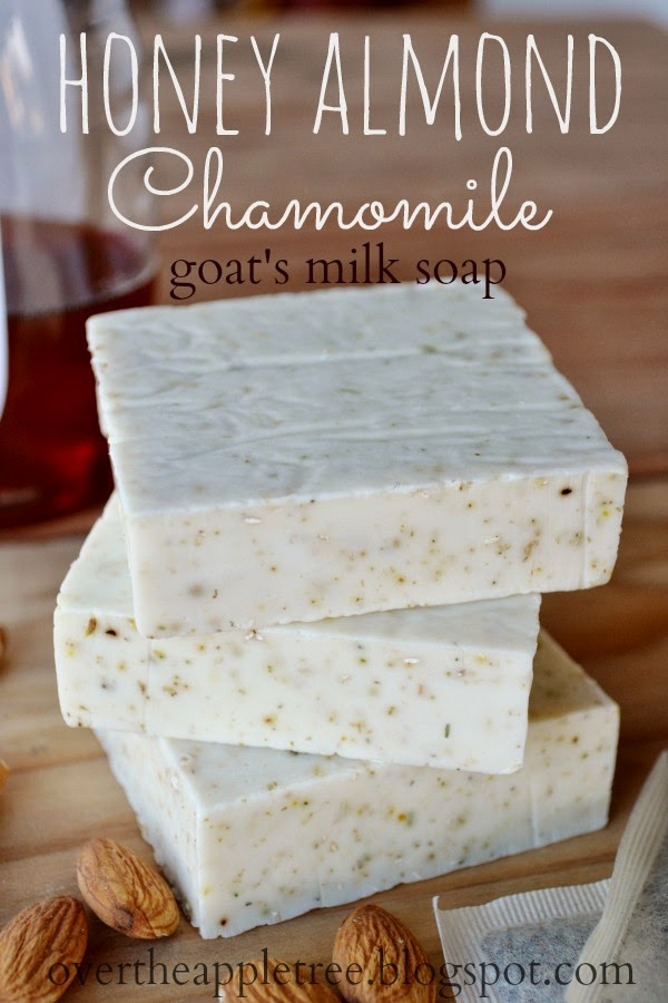 Honey Almond Chamomile Goat's Milk Soap, melt and pour soap recipe by Over the Apple Tree