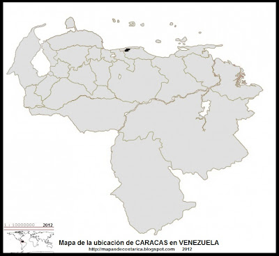 Mapa de la ubicacion de CARACAS, capital de VENEZUELA
