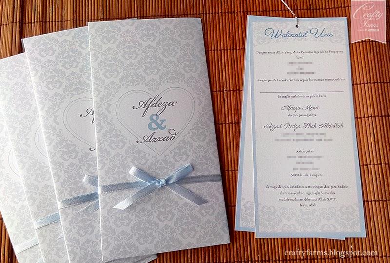Pastel Blue Damask Vintage Wedding Card Malaysia, Kad Undangan Majlis Perkahwinan, Kad Kahwin Melayu, Walimatul Urus