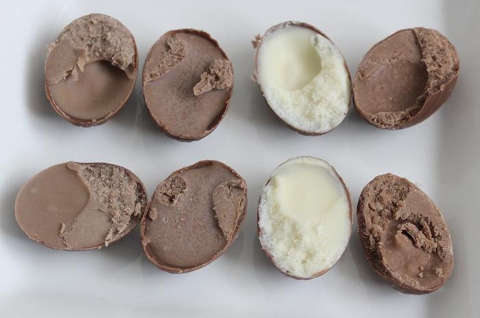 Easter chocolate eggs: chocolate, hazelnut, vanilla, and caramel