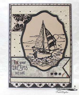 North Coast Creations Stamp sets: Sail Away, Our Daily Bread Designs Custom Dies: Pennants, Faithful Fish Pattern, Antique Labels and Border, ODBD Stamp sets: Lattice Background